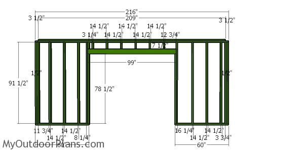 Front wall frame for lean to shed