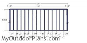 Plain side wall frame - 8x20 shed frame