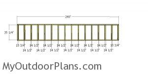 Top front wall frame - 8x20 lean to shed