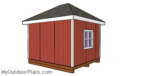 10x12 Hip Roof Shed Plans - Back View