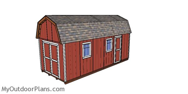 10×24 Gambrel Shed Plans