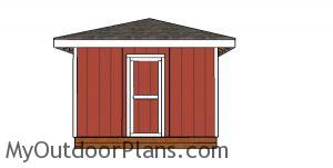 12x12 Shed with Hip Roof - front view