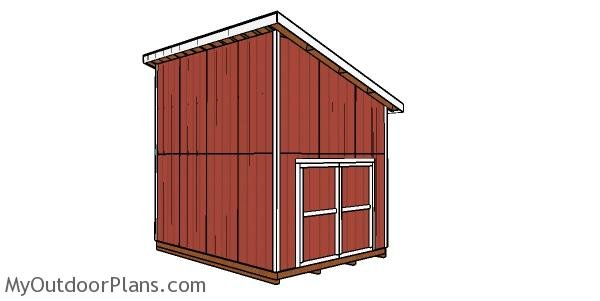 12x16 Lean to Shed with Loft Plans - back view