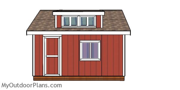 12x16 Storage Shed with Dormer Plans - Side view