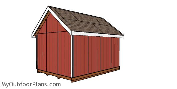 12x16 Storage Shed with Dormer Plans - back view