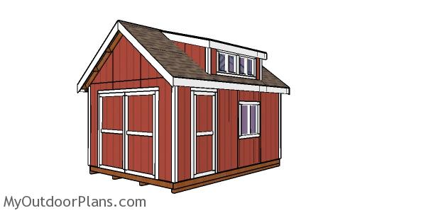 12x16 Storage Shed with Dormer Plans