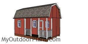 12x20 Barn Shed with Side Porch - Free DIY Plans
