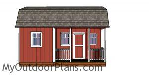 12x20 Barn Shed with Side Porch Plans