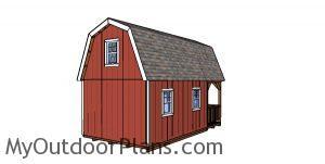 12x22 Barn Cabin Plans - back wall