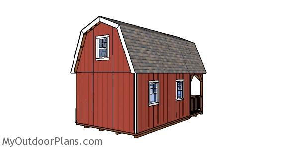 12x22 Barn Cabin Plans - back wall
