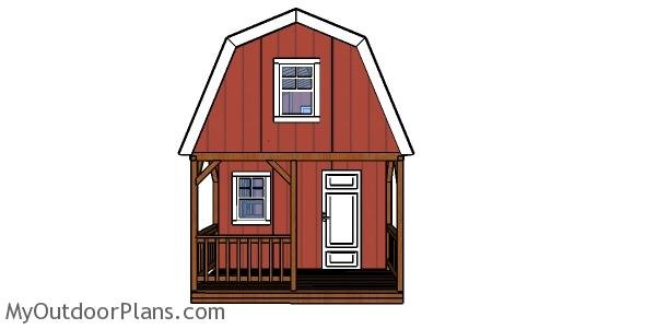 12x22 Barn Cabin Plans - front wall