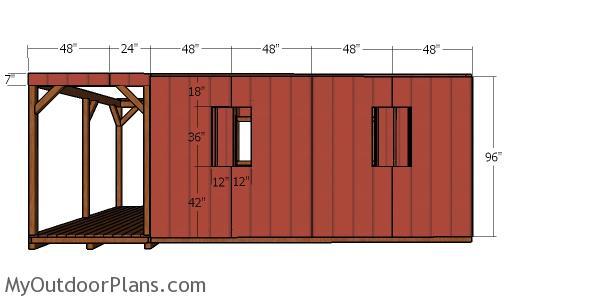 12x22 Barn Cabin Plans - side panels