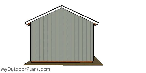 16x32Pole Barn Plans - back view