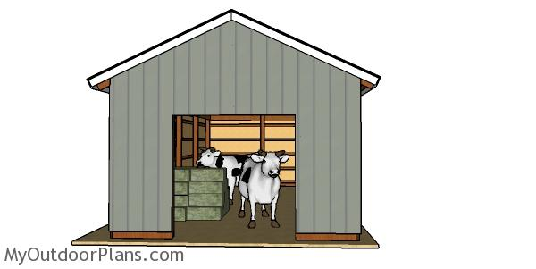16x32Pole Barn Plans - front view