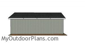 16x32 Pole Barn Plans - side view