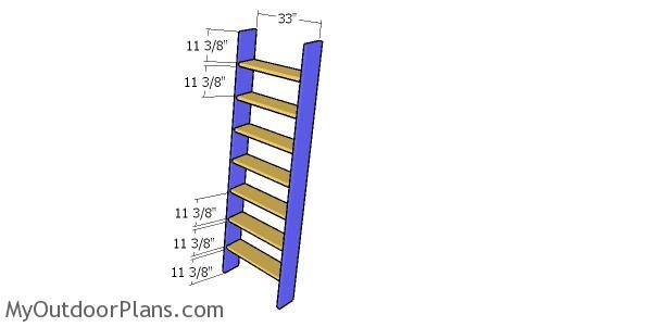 Assembling the loft ladder tread