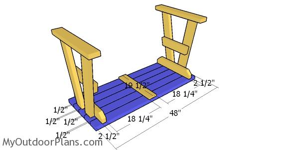 Assembling the picnic table