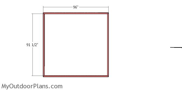 Back wall frame - 4x8 catio