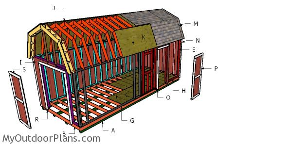 10x24 Gambrel Shed Roof Plans