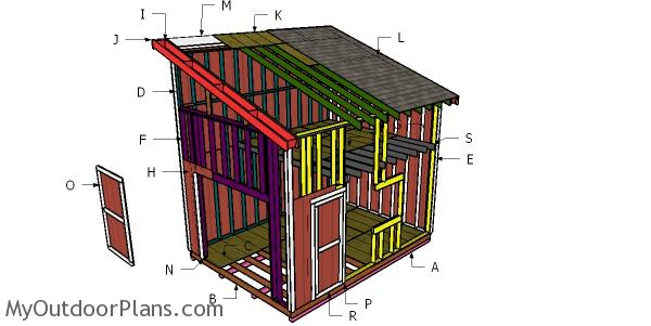 12x16 Lean to Shed with Loft Roof Plans