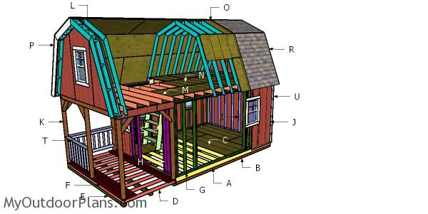 12x22 Gambrel Roof with Loft for Cabin - DIY Plans