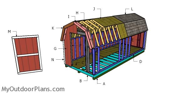 8x20 Gambrel Shed Roof Plans