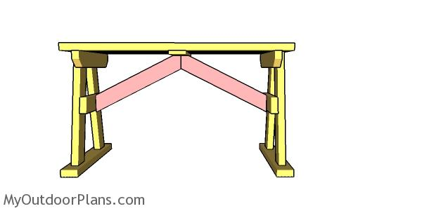 Fitting the braces to the picnic table arbor