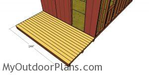 Fitting the decking boards to the front porch
