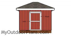 Fitting the door into place - shed
