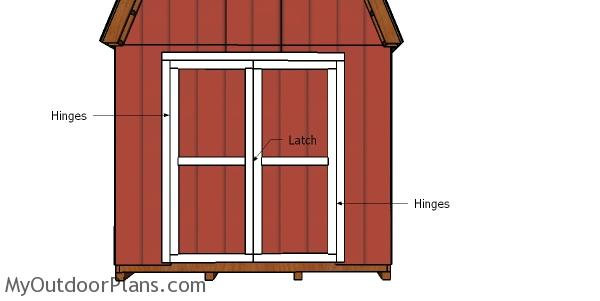 Fitting the front doors - 8x20 barn shed