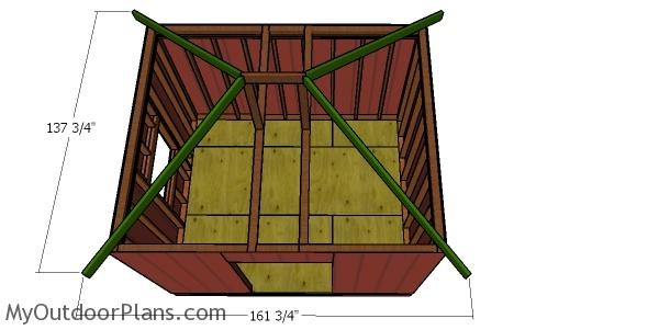 Fitting the hip rafters - 10x12 shed