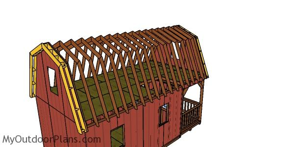 Fitting the overhangs to the barn cabin