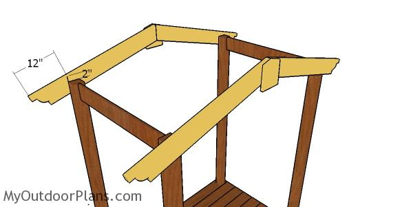 Fitting the raftrers to the picnic table arbor