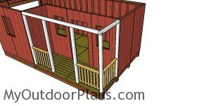 Fitting the railings - shed with porch