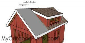 Fitting the roofing - 12x16 shed with dormer