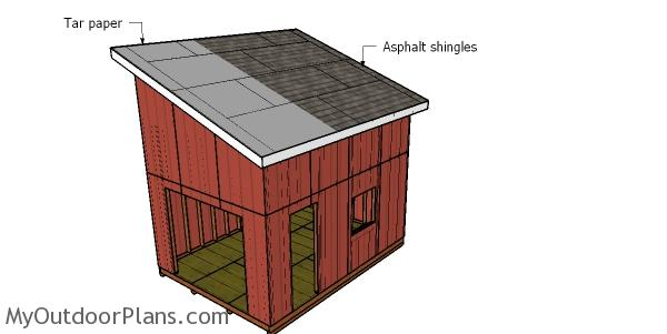 Fitting the roofing - shed with loft