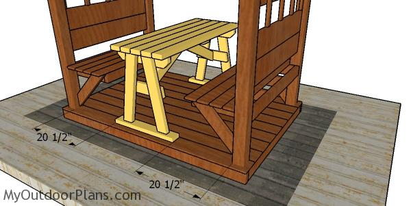 Fitting the table to the pergola