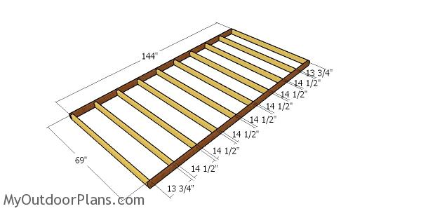 Floor frame for porch - 12x22 cabin