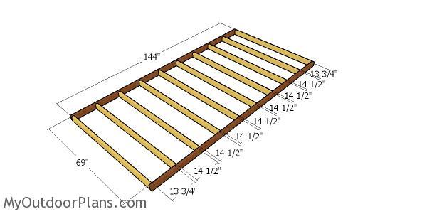Floor frame for porch - 12x22 cabin