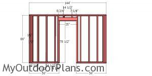 Front wall frame - 12x12 hip roof shed