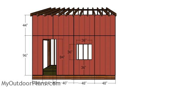 Front wall siding sheets - 12x16 lean to shed