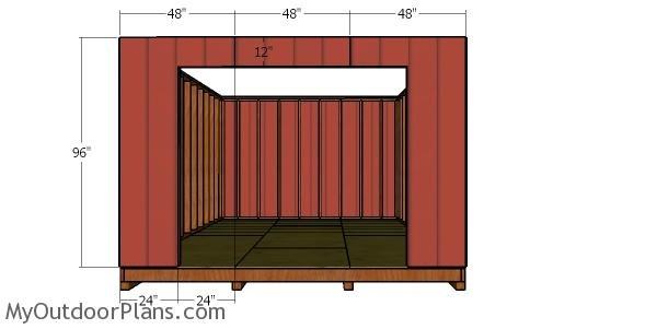 Front wall siding sheets - 12x16 shed