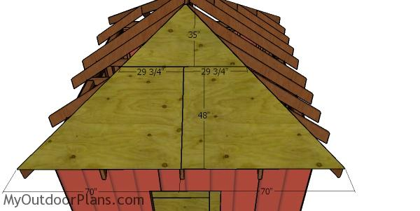 Side roof sheets - hip roof shed