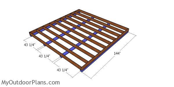 Skids for large floor frame