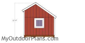 10x10 saltbox shed plans - side view