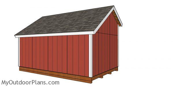 10x16 saltbox shed plans - back view