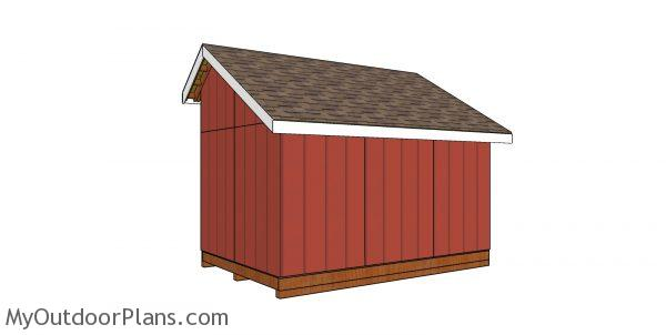 8x12 saltbox shed plans - back view