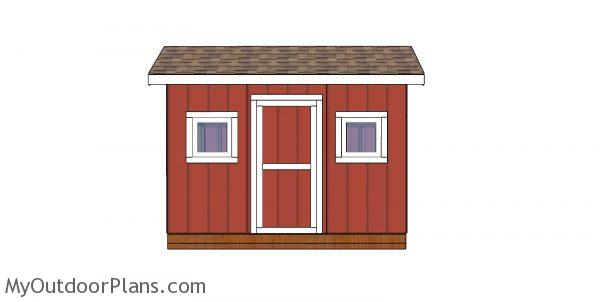 8x12 saltbox shed plans - front view