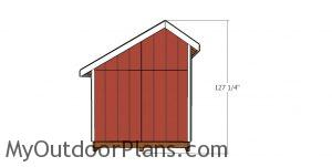 8x8 saltbox shed plans - side view