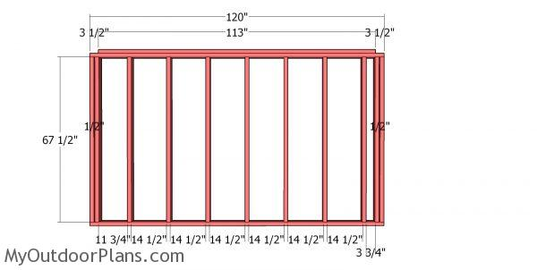 Back wall frame - 10x10 shed
